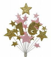 Number age 16th birthday cake topper decoration in gold and pale pink - free postage